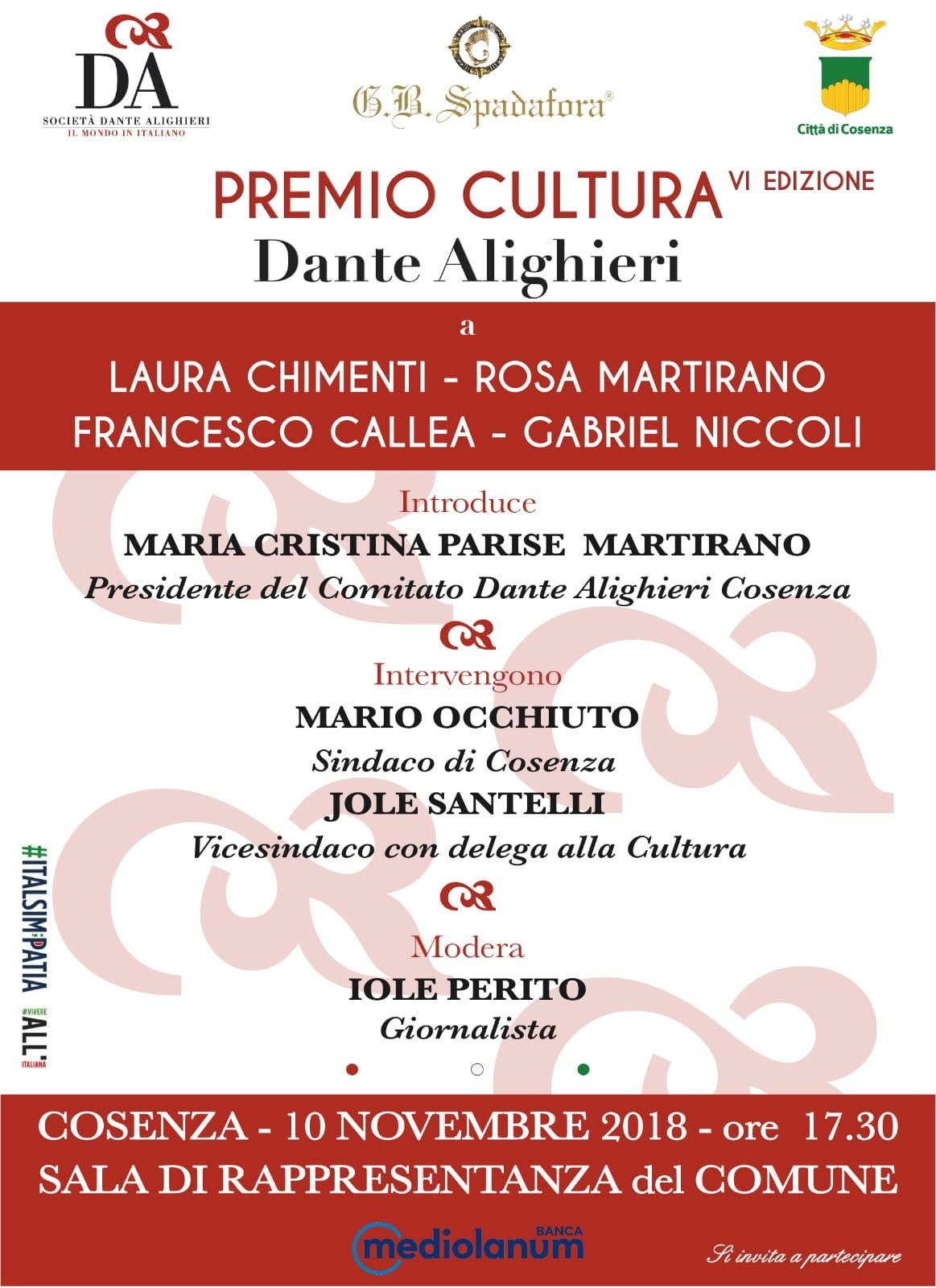 la locandina del premio cultura Dante Alighieri