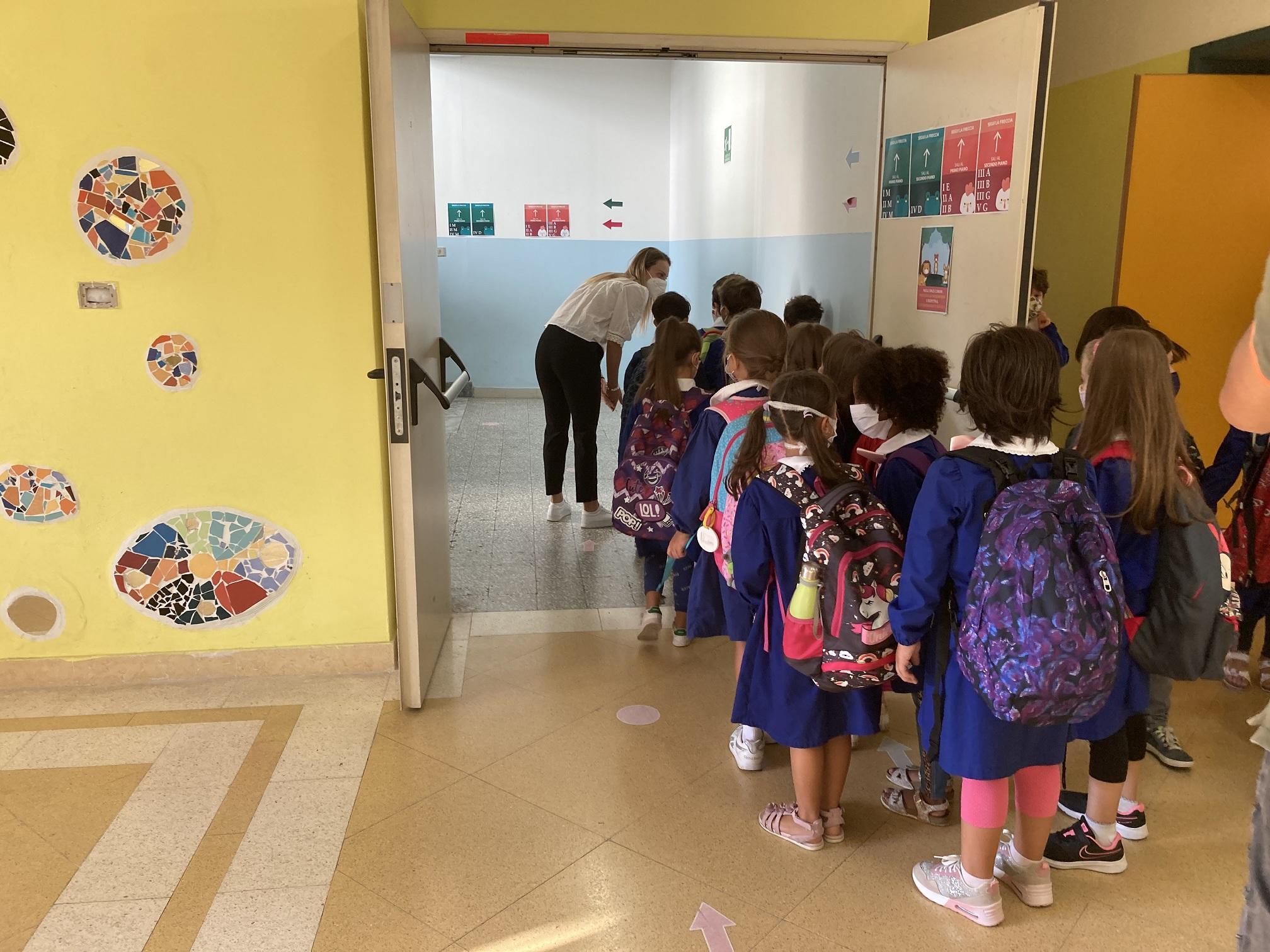 gli alunni entrano in classe